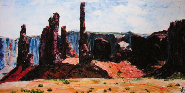Contre-jour à Monument Valley, Utah, USA - Peinture,  23,6x31,5 in, ©2014 par Daniele Baille Barrelle -                                                                                                                                                                                                                          Figurative, figurative-594, Paysage, Amérique - Monument Valleu - Far West - Rochers