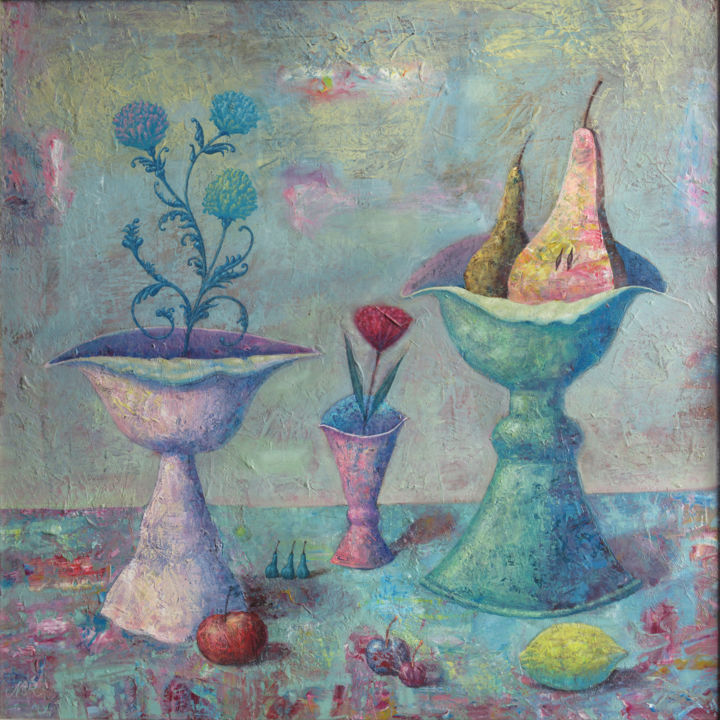 """Painting titled """"Pears and clover"""" by Dmitrii Ryzhikov, Original Art, Acrylic"""