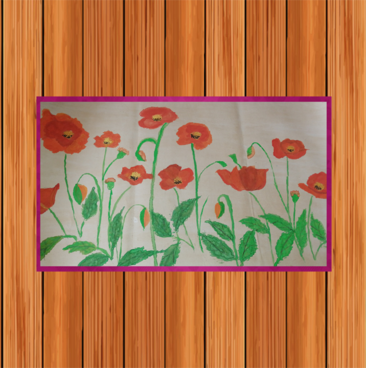 Poppy flower in tea detoct paper - Painting,  14x22 in ©2019 by Dr.sharmila Das -                                                                                    Impressionism, Other, Paper, Vegetable, Flower, Fine art