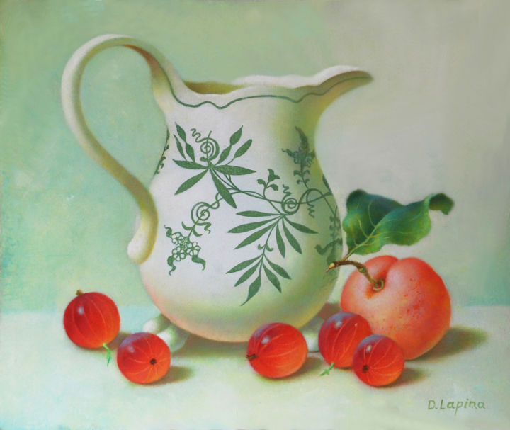 Still Life with Vintage Jug and Fruits. - Painting,  25x30x0.5 cm ©2016 by Dace Lapina -                                                                                                                                                                                                            Figurative Art, Realism, Contemporary painting, Modernism, Classicism, Canvas, Still life, Food & Drink, Colors, Cuisine, Kitchen, Botanic, Culture, History, Time, still life painting, , vintage jug, . fruits, , red and white, oil painting, , contempotary art, antique  jug, summer, plum, gooseberries