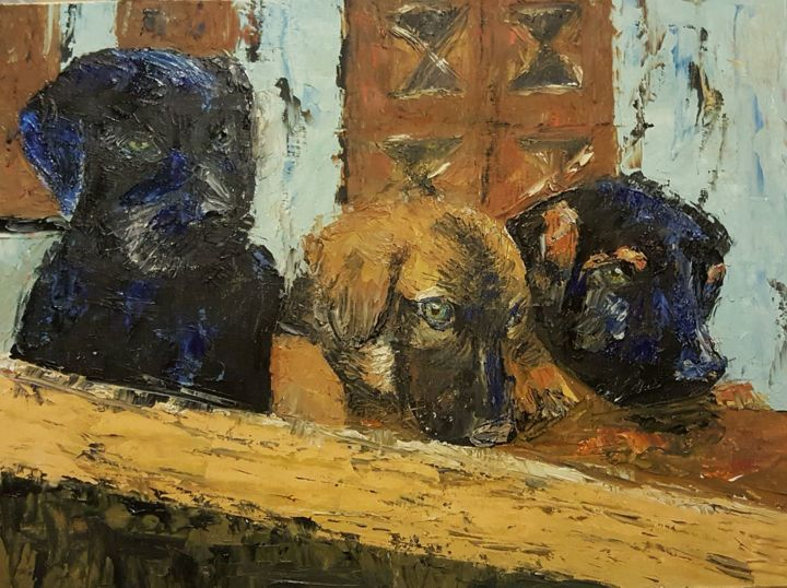 3-perritos.jpg - Painting,  30x40x0.5 cm ©2017 by Diego Castelló -                                                            Contemporary painting, Canvas, Animals, PASTOR ALEMAN, PERROS, TERNURA, CACHORROS
