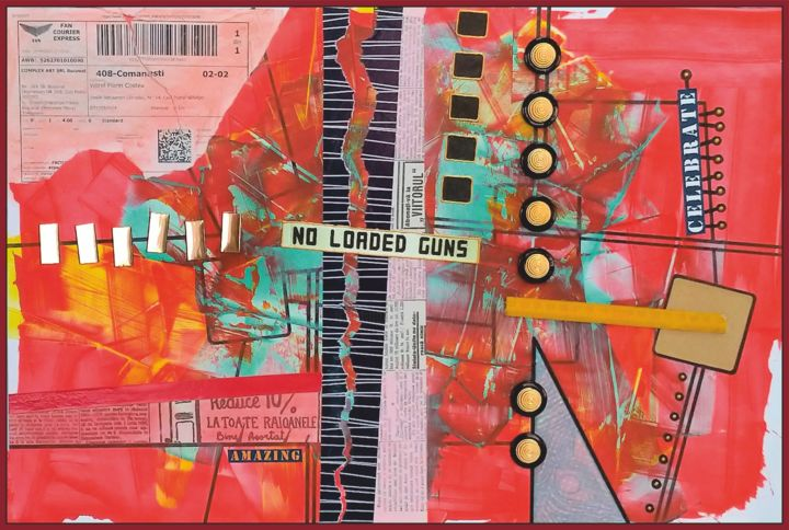 No loaded guns! Amazing! - Painting,  15.8x23.6x0.4 in, ©2019 by Viorel Florin Costea (dadavfc) -                                                                                                                                                                                                                                                                                                                                                                                                                                                                                                                                                                                                                                                                                  Conceptual Art, conceptual-art-579, Colors, Culture, Performing Arts, new world, acrylic, collage, no loaded guns, celebrate, amazing, imagination, fantasy, dadaism