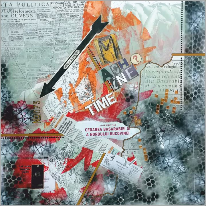 Time Machine No.075 - Painting,  31.5x31.5x0.6 in, ©2019 by Viorel Florin Costea (dadavfc) -                                                                                                                                                                                                                                                                                                                                                                                                                                                                                                                                                                                          Conceptual Art, conceptual-art-579, Abstract Art, Culture, time, machine, nomber, dada, composition, acrylic, imagination, fantasy