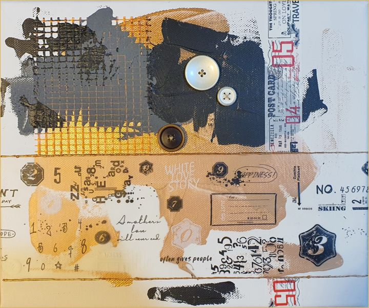 The buttons' series (I) - Collages,  9.8x11.8x0.5 in, ©2020 by Viorel Florin Costea (DadaVFC) -                                                                                                                                                                                                                                                                                                                                                                                                                                                      Conceptual Art, conceptual-art-579, Abstract Art, button, elegant, mixed media, collage, gold, series