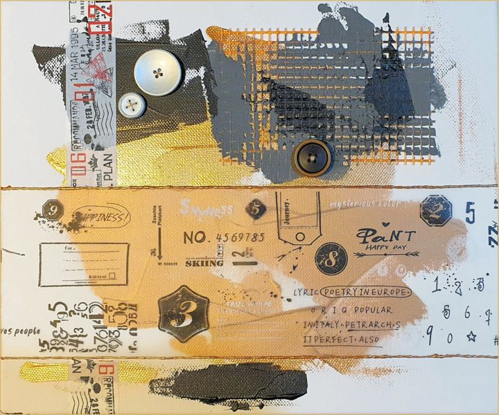 The buttons' series (II) - Collages,  9.8x11.8x0.5 in, ©2020 by Viorel Florin Costea (DadaVFC) -                                                                                                                                                                                                                                                                                                                                                                                                                                                      Conceptual Art, conceptual-art-579, Abstract Art, button, elegant, fancy, collage, mixed media, acrylic