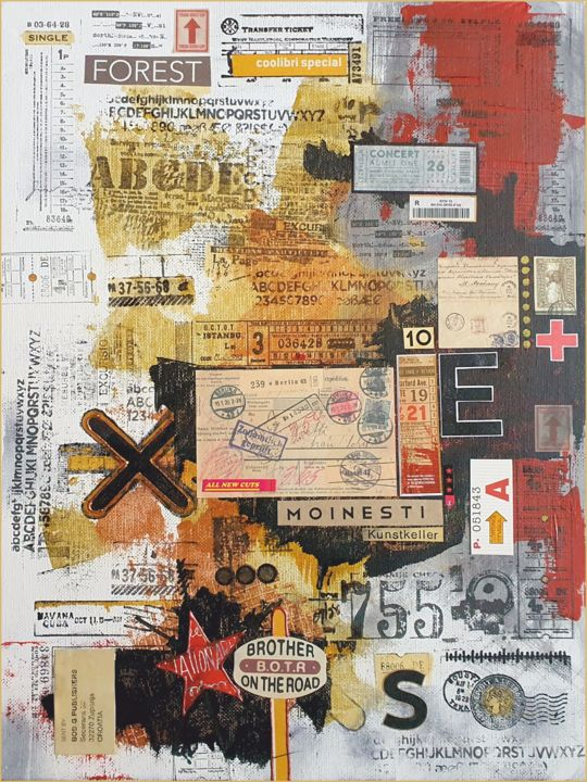 """Collages titled """"Tickets for a new d…"""" by Viorel Florin Costea (DadaVFC), Original Art, Collages"""