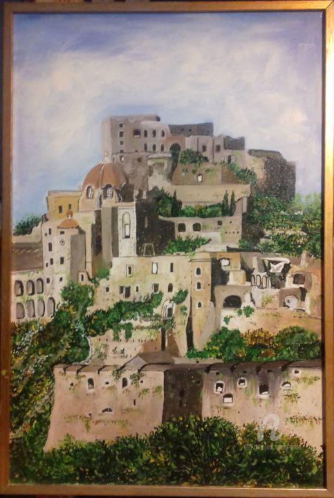 Craco - Painting,  11.8x17.7x0.8 in, ©2017 by DADE -                                                                                                                                                                                                                                                                                                                                                                                                          Expressionism, expressionism-591, Landscape, vegetazione, paese, rocce, case, natura