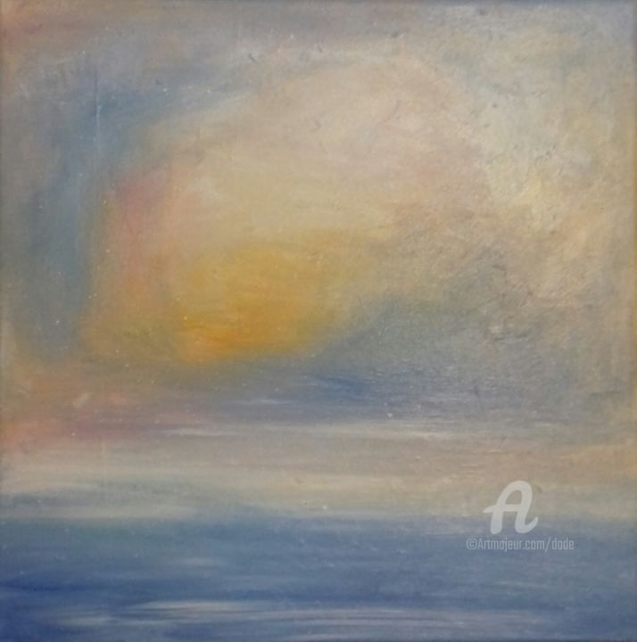 marina - 1 - Painting,  11.8x11.8x0.8 in, ©2017 by DADE -                                                                                                                                                                                                                                                                                                                                                              Expressionism, expressionism-591, Seascape, cielo, mare, acqua, sole