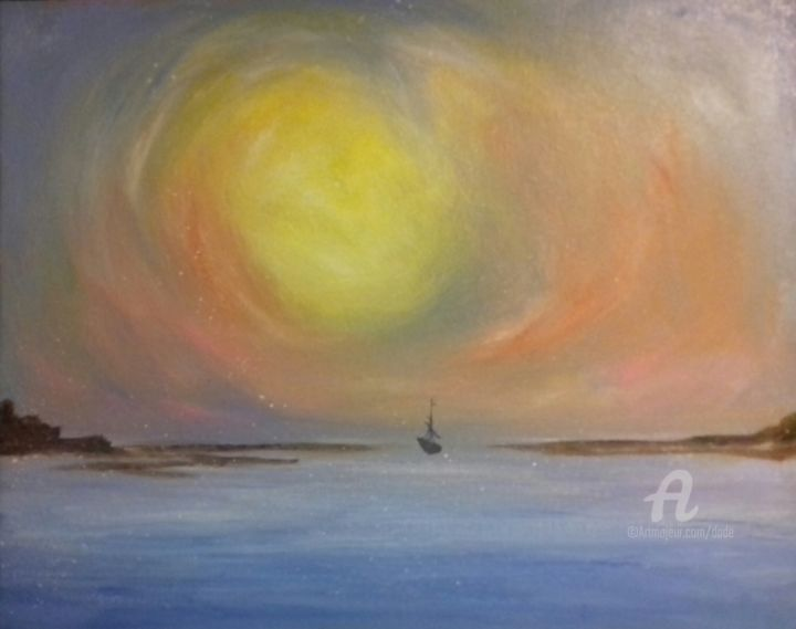 Marina - 4 - Painting,  15.8x19.7x0.8 in, ©2017 by DADE -                                                                                                                                                                                                                                                                                                                                                                                                                                                      Expressionism, expressionism-591, Seascape, mare, barca, sole, cielo, scogliera, terra