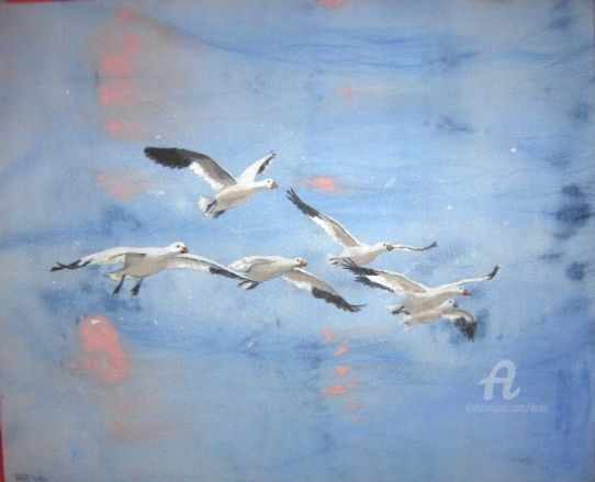 Oche in volo - Painting, ©2019 by DADE -                                                                                                                                                                                                                                                                                                                                                                                                          Expressionism, expressionism-591, Birds, animali, volatili, oche, volo, cielo