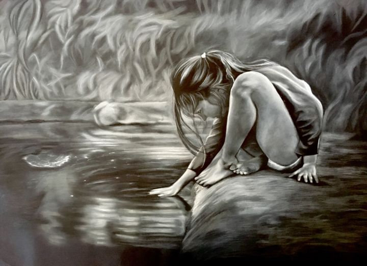 """Drawing titled """"the girl in the pond"""" by Dafne Di Marco, Original Art, Conté"""