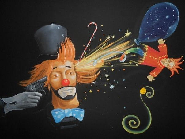 Клоун навсегда (Clown Forever) - Painting,  80x100 cm ©2012 by Dagas -