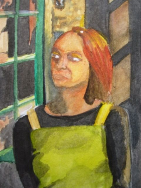 Mélane - Peinture,  5,9x4,3x0,4 in, ©2003 par Maya Ratovondrahona -                                                              watercolors woman