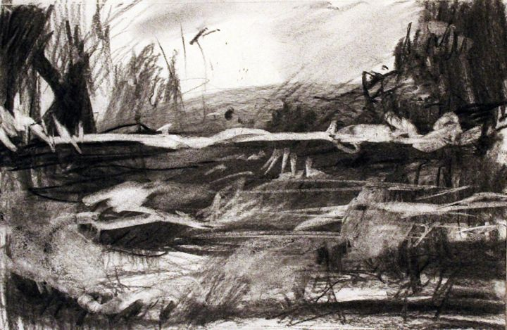 """Drawing titled """"A gloomy valley"""" by Dailysto Art, Original Art, Charcoal"""