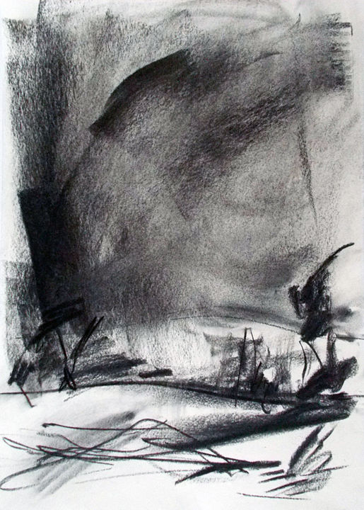 """Drawing titled """"Wind"""" by Dailysto Art, Original Art, Charcoal"""