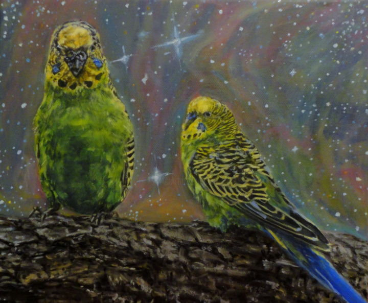 Parrots - ©  parrots, animals, oilpaint Online Artworks