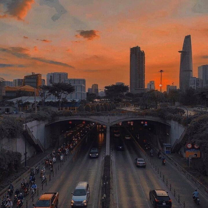 """Photography titled """"Sunset over the city"""" by Dan Schein, Original Art, Digital Photography"""