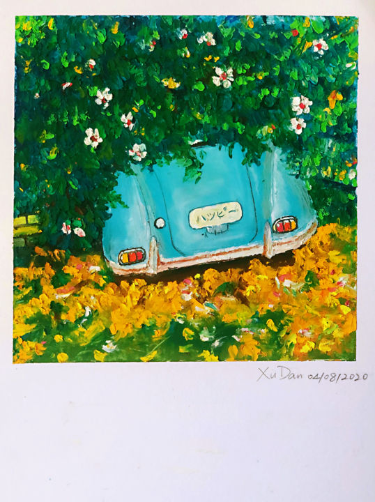... - Drawing,  8.3x5.7 in, ©2020 by Dan Xu -                                                                                                                                                                                                                                                                                                                                                          Impressionism, impressionism-603, Tree, Flower, Transportation, Car, Travel