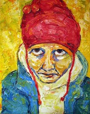 Red Fleece Muse in the Hood - Painting ©2003 by Dana Ellyn Kaufman -