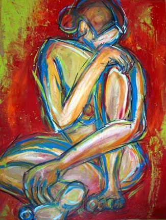 Hiding from Vulnerability - Painting ©2002 by Dana Ellyn Kaufman -
