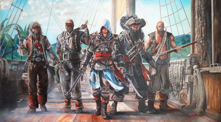 Assassins Creed Black Flag Captain Kenway Painting By Nick