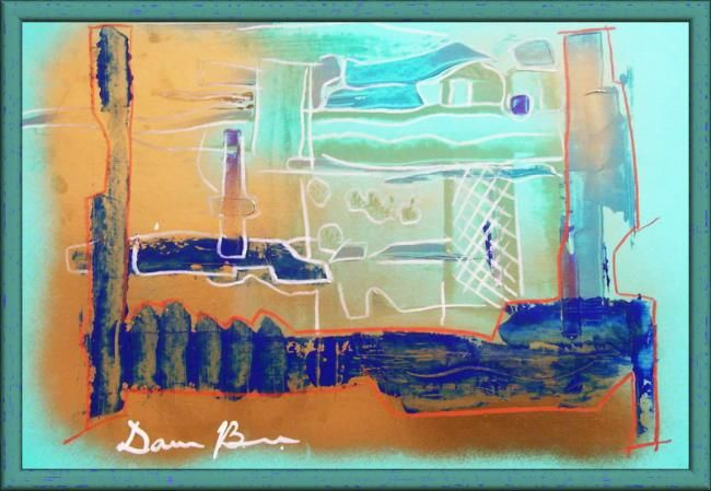 """Painting titled """"Immersion in Golden"""" by Dan Brad, Original Art,"""
