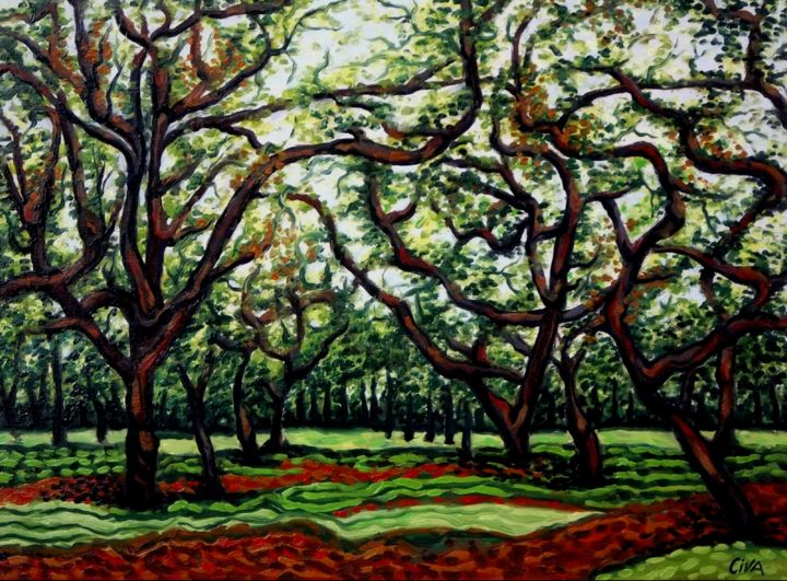Chestnut plantation (A), Thailand - Painting,  24x31.9x1.6 in, ©2013 by Dan Civa -                                                                                                                                                                                                                                                                                                                                                                                                                                                                              Asia, Botanic, Business, Culture, Food & Drink, chestnut, Dan Civa, Thailand, plantation, nuts