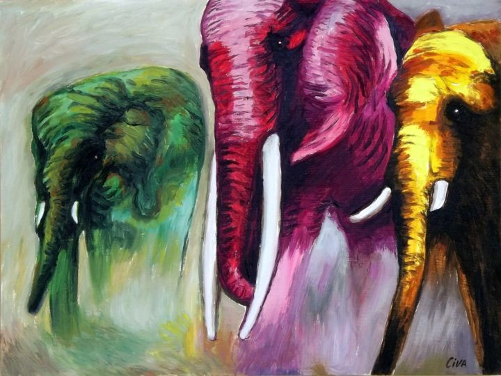 Coloured elephants (2016 no. 15) - Painting,  60x80x2 cm ©2016 by Dan Civa -                                                                            Documentary, Expressionism, Figurative Art, Modernism, Realism, coloured elephants, big animal, dan civa, big horn, strong animal, heavy animal, amazing animal