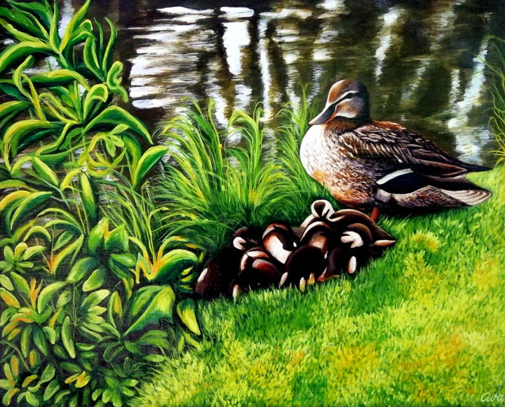 Duck with ducklings in a park, Copenhagen, Denmark - Painting,  65x80x2 cm ©1987 by Dan Civa -                                                                                                            Contemporary painting, Documentary, Environmental Art, Figurative Art, Realism, Canvas, Animals, duck, ducklings, park, lake, dan civa, denmark
