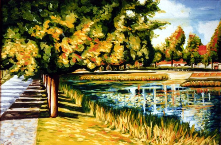 Autumn with lake, Denmark - Painting,  32x48x2 cm ©1987 by Dan Civa -                                                                                                                                                            Contemporary painting, Documentary, Modernism, Realism, Canvas, Colors, Nature, Places, Politics, Tree, Water, autumn, dan civa, denmark, lake, colors, nature