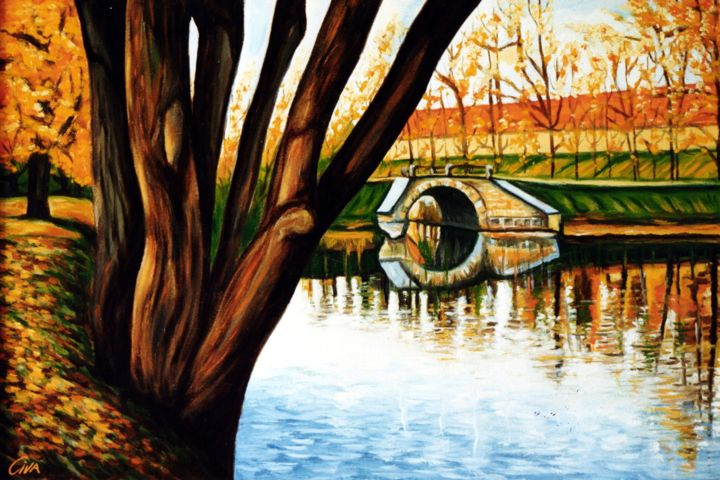 Autumn with lake and small bridge - Painting,  32x49x2 cm ©1987 by Dan Civa -                                                                Contemporary painting, Documentary, Environmental Art, Realism, autumn, denmark, dan civa, lake, smal bridge, colorful