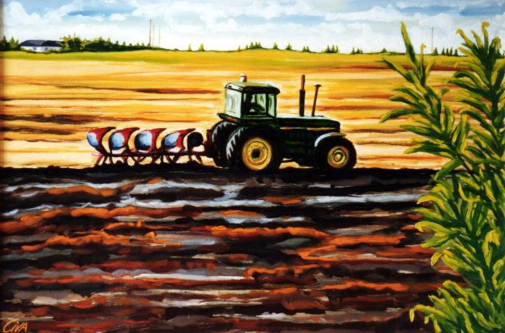 Autumn ploughing, Denmark - © 1986 autumn, denmark, ploughing, field, tractor, soil, dan civa, colorful Online Artworks