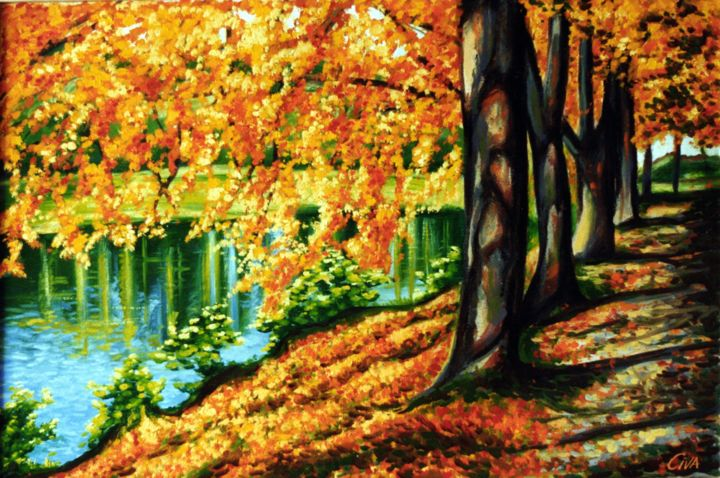 """Painting titled """"Autumn with lake, D…"""" by Dan Civa, Original Art, Oil"""