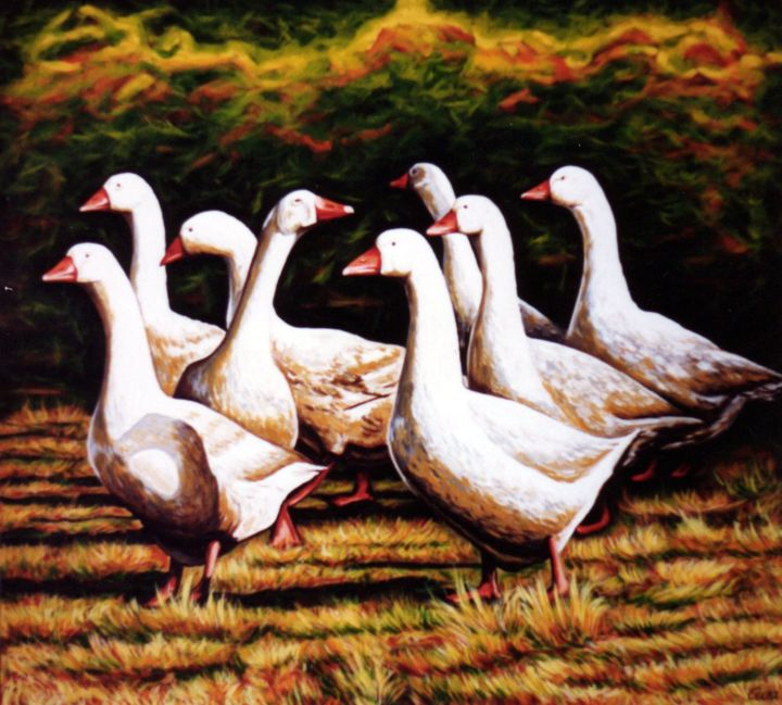 Danish goose farm in autumn time - Painting,  100x90x2 cm ©1987 by Dan Civa -                                                                                                                                    Contemporary painting, Documentary, Figurative Art, Land Art, Realism, Canvas, Animals, Culture, Food & Drink, goose, goose farm, denmark, dan civa, country side, farming, christmas food, goose steak
