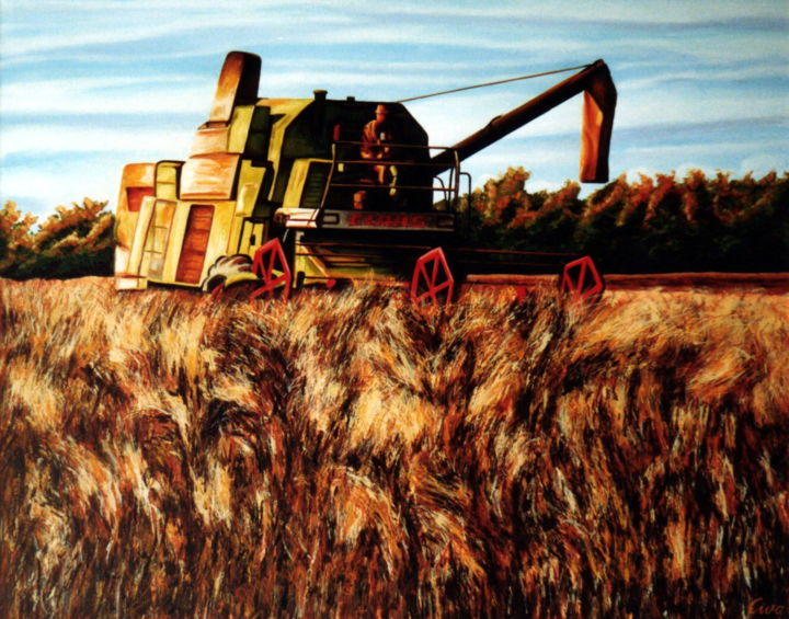 Harvesting peaces, Autumn time, Denmark - Painting,  66x52x2 cm ©1986 by Dan Civa -                                                                                                                                                Contemporary painting, Documentary, Figurative Art, Land Art, Realism, Canvas, Colors, Food & Drink, Landscape, Seasons, harvesting peaces, denmark, dan civa, country side, colorful, autumn season