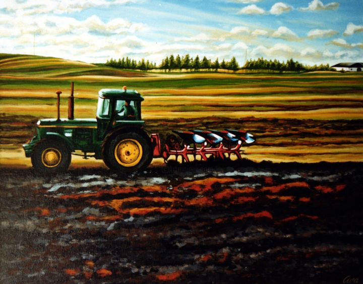 Autumn ploughing, Denmark - Painting,  52x66x2 cm ©1986 by Dan Civa -                                                                                                                        Contemporary painting, Documentary, Land Art, Modernism, Realism, Canvas, Colors, Landscape, autumn, ploughing, denmark, dan civa, field, tractor, black soil, country side, farming, colorful