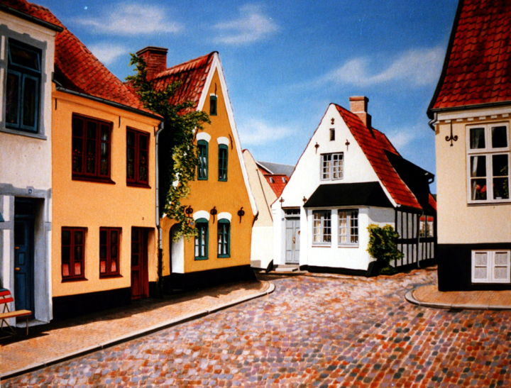 Watchmans place in old Danish town - Painting,  52x66x2 cm ©1985 by Dan Civa -                                                                                                                        Contemporary painting, Documentary, Realism, Canvas, Aerial, Cities, Culture, History, denmark towns, dan civa, watchman, places, old houses, old town, watchmans place, colorful