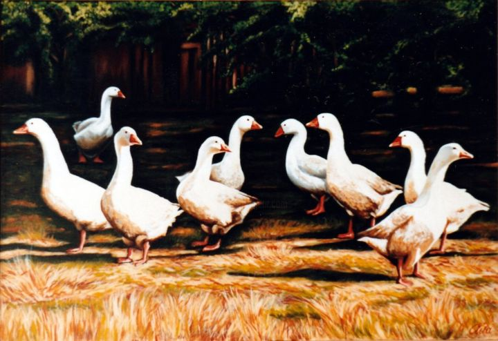 Danish goose farm in autumn season - Painting,  46x67x2 cm ©1986 by Dan Civa -                                                                            Contemporary painting, Documentary, Figurative Art, Modernism, Realism, goose farm, autumn time, country life, denmark, dan civa, christmas food, goose steak, farming