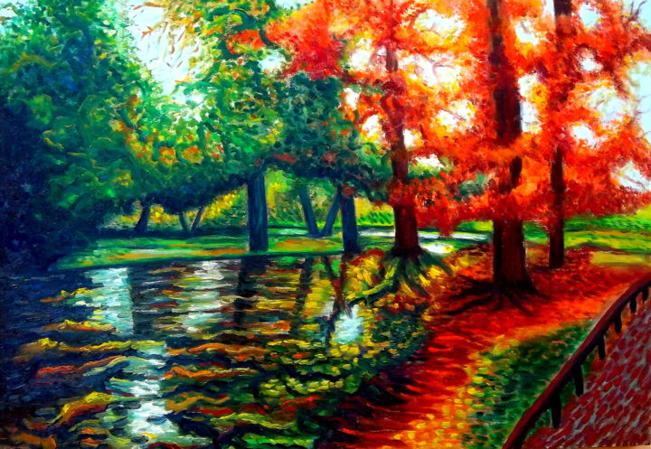 Autumn in Public Garden, Copenhagen, Denmark - Painting,  85x122x4 cm ©2015 by Dan Civa -                                                                                                                                Contemporary painting, Documentary, Environmental Art, Modernism, Realism, Wood, Botanic, Colors, Nature
