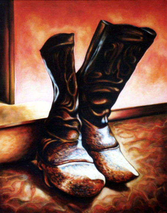 Old wood boots from Danish farm - Painting,  100x80x2 cm ©1986 by Dan Civa -                                                                                                                                                Contemporary painting, Documentary, Modernism, Realism, Canvas, Culture, Health & Beauty, History, Men, Still life, wood boots, denmark, dan civa, farm, leather, old boots, farmers clothing, strong boots