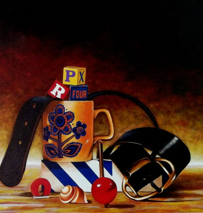 Arrangement with black belt - Painting,  54x52x2 cm ©1986 by Dan Civa -                                                                                                                        Contemporary painting, Documentary, Figurative Art, Modernism, Realism, Canvas, Colors, Still life, still life, Denmark, dan civa, arrangement, kop, black belt, cupe