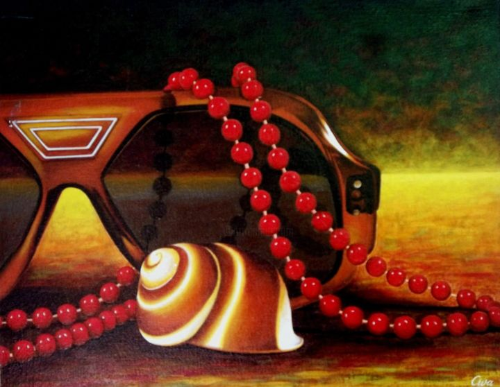 Sunglasses, neckglace and seashell - Painting,  45x56x2 cm ©1986 by Dan Civa -                                                                                                                                                            Contemporary painting, Documentary, Figurative Art, Modernism, Realism, Canvas, Colors, Fashion, Health & Beauty, Seasons, Still life, sunglasses, denmark, dan civa, neckglace, seashell, arrangement, still life