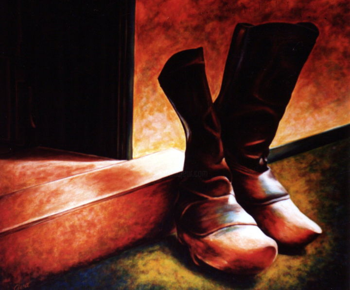 Danish farmers old wood boots - Painting,  56x67x2 cm ©1985 by Dan Civa -                                                                                                                                    Contemporary painting, Documentary, Realism, Canvas, Culture, Health & Beauty, History, Men, Still life, wood boots, farmers boots, strong boots, leather boots, old boots, heavy boots