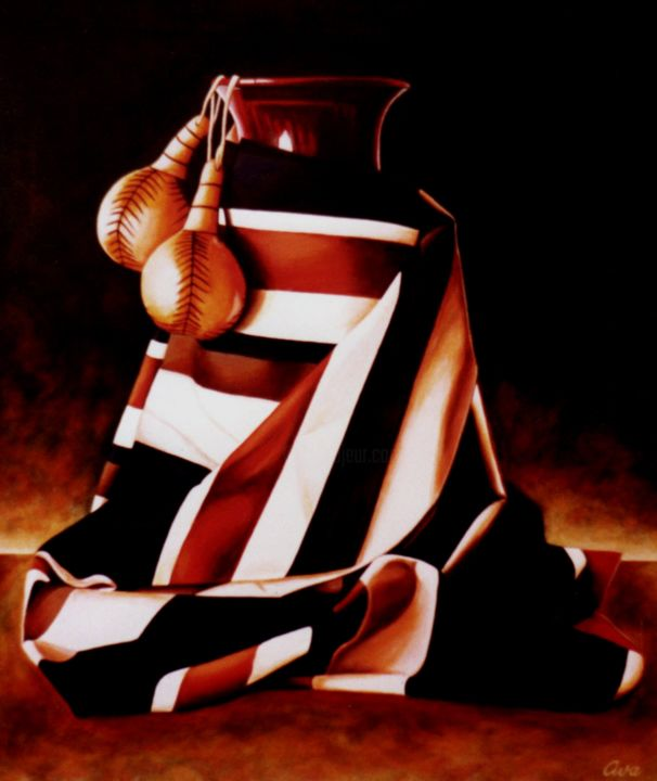 Arrangement with big vase - Painting,  67x56x2 cm ©1987 by Dan Civa -                                                                                                                        Art Deco, Contemporary painting, Documentary, Figurative Art, Realism, Canvas, Colors, Still life, vase, arrangement, denmark, dan civa, still life, kastanjets, material, big vase