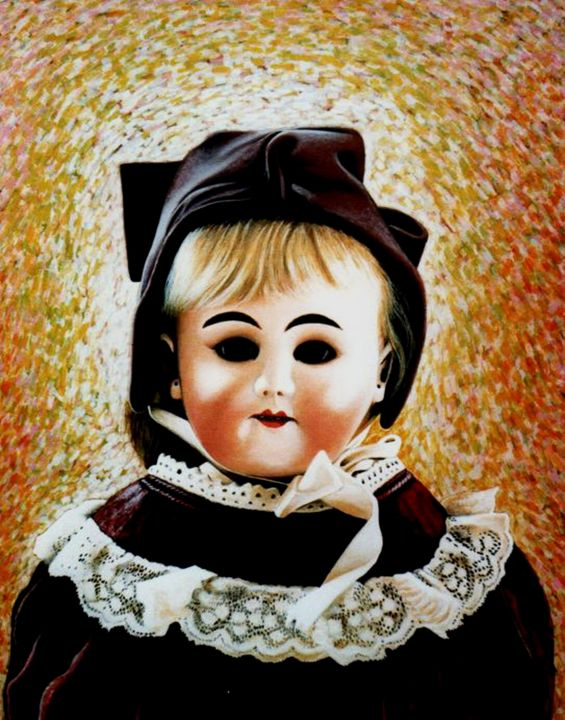 Old porcelain doll i museum - Painting,  62x48x2 cm ©1985 by Dan Civa -                                                                                                                                                                        Contemporary painting, Documentary, Figurative Art, Modernism, Portraiture, Realism, Canvas, Children, Culture, History, Kids, Still life, porcelain doll, denmark, dan civa, old doll, doll portrait, doll dresses, doll laze