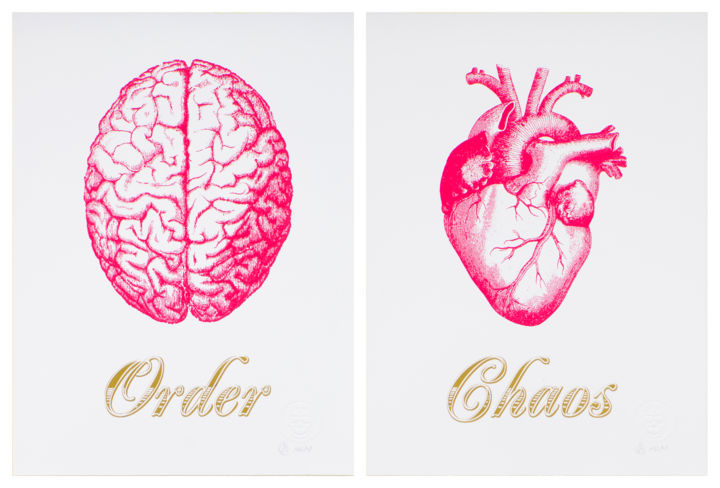 """Printmaking titled """"Order Chaos Red Sma…"""" by Dangerous Minds Artists, Original Art, Screenprinting"""