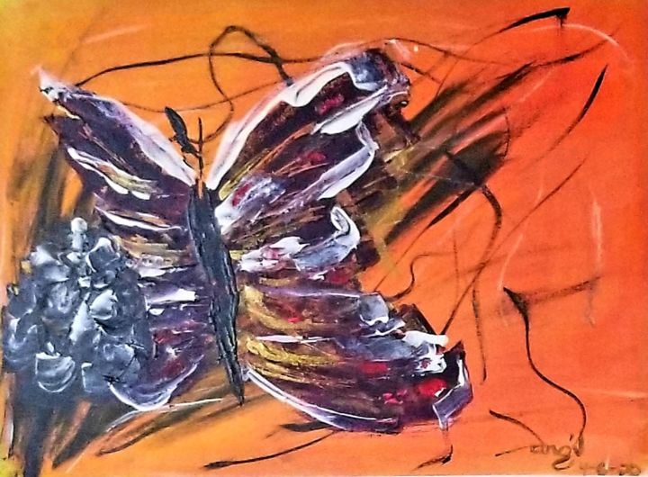"""Painting titled """"Solitary Butterfly"""" by Dhan, Original Art, Acrylic"""