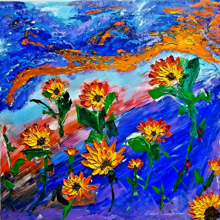 """Painting titled """"Basking"""" by Dhan, Original Art, Acrylic"""