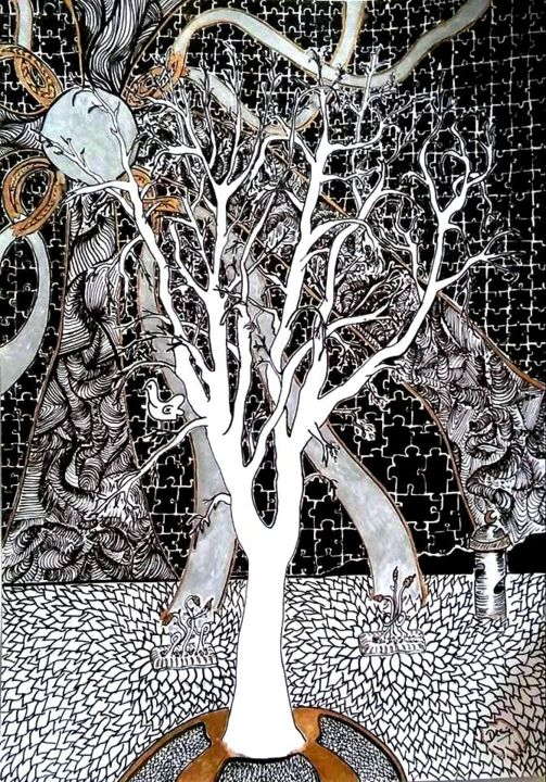 Arbol de Rivera (Rivera´s tree) - Drawing, ©2017 by Dannych -                                                                                                                                                                          Outsider Art, outsider-art-1044, Tree