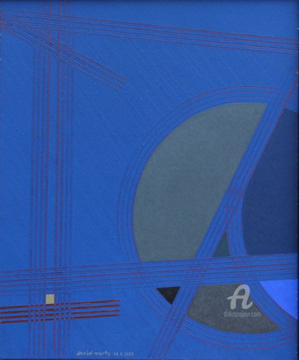 Tranquille - Painting,  18.9x14.2x1 in ©1989 by Daniel MARTY -                                    Abstract Art, Concrete Art